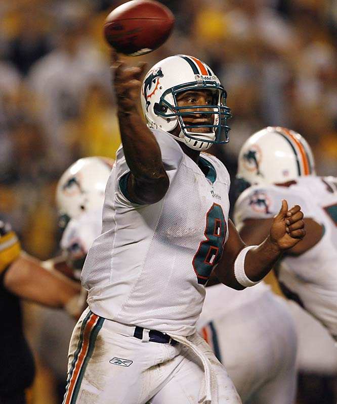 The Dolphins had a shot at Drew Brees and Daunte Culpepper and chose Culpepper because they thought he had a better shot at staying healthy. Didn't quite work out that way. Culpepper was ineffective in four games because his knee injury lingered, while Brees overcame a shoulder injury and is having an MVP-caliber season.