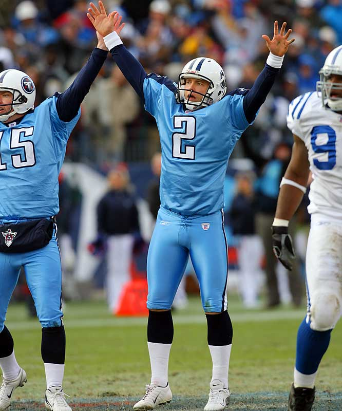 60 ... Rob Bironas's 60-yard field goal for the Titans against the Colts was the fourth-longest in NFL history but only the second-longest this year, behind Matt Bryant's 62-yarder for the Buccaneers against the Eagles. The 122 combined yards are the most ever by two field goals in one NFL season. The previous high was 120 yards in 1998 -- a 63-yarder by Jason Elam of the Broncos and a 57-yarder by Jeff Wilkins of the Rams.