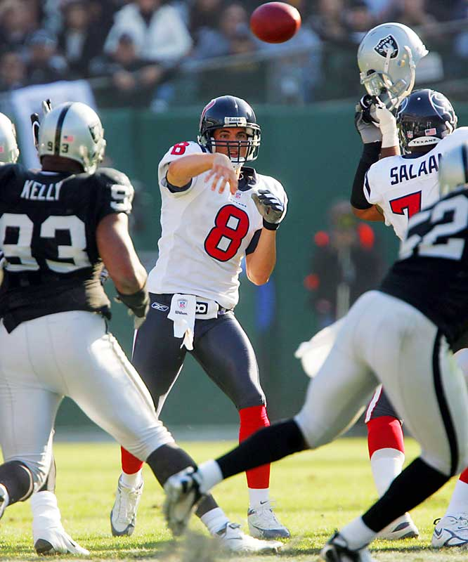 -5 ... David Carr and the Texans beat the Raiders Sunday despite minus-five net passing yards, the fewest net passing yards by a team in a victory in 35 years. The last team to win with fewer than minus-five net passing yards was the Los Angeles Rams in a 20-14 victory over the 49ers on Oct. 10, 1971.