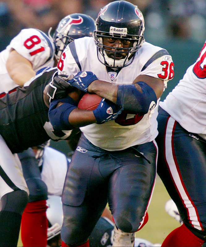 90 ... Over the past six years, Ron Dayne has had three games with 90 or more rushing yards -- all for different teams. Dayne ran for 111 for the Giants against the Saints in 2001, 98 for the Broncos against the Cowboys last year and 95 for the Texans against the Raiders last week.