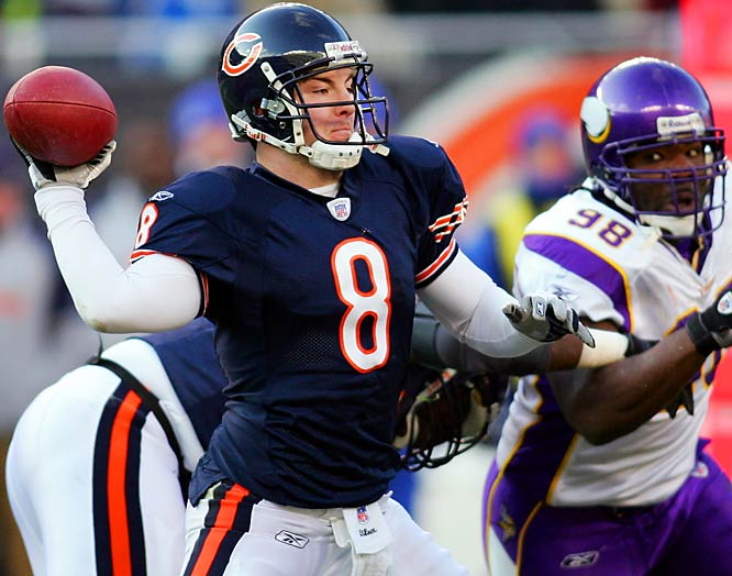 34 ... Bears quarterback Rex Grossman's 34 passing yards against the Vikings are the fewest on 19 or more pass attempts in five years, since Anthony Wright of the Cowboys had 33 yards on 23 attempts against the Eagles on Sept. 30, 2001. Oddly enough, another Cowboys quarterback -- Quincy Carter -- had 34 yards on 19 attempts two weeks earlier against Tampa Bay.