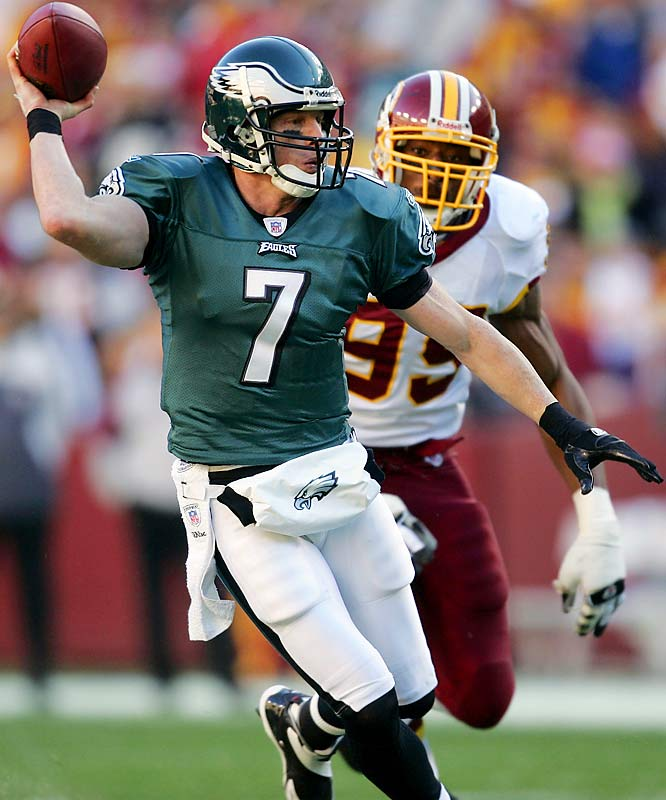 105 ... Eagles quarterback Jeff Garcia is the first quarterback to record a passer record of 105 or higher in his first three starts with a new team in 13 years, since Boomer Esiason of the Jets did it in 1993. Garcia has produced passer ratings of 121.0, 105.9 and 115.1 in his first three starts in relief of Donovan McNabb. Esiason's had ratings of 107.4, 106.0 and 125.2 in his first three starts.