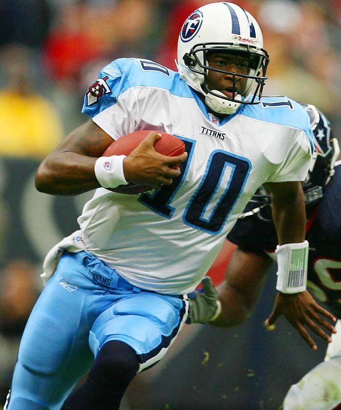 39 ... Vince Young's 39-yard overtime touchdown run in the Titans' win over the Texans was the sixth overtime rushing TD in NFL history by a quarterback and the second-longest ever. The only other overtime rushing touchdowns by quarterbacks: Billy Kilmer of the Redskins (one yard vs. Dallas on Nov. 2, 1975), Roger Staubach of the Cowboys (four yards vs. Vikings on Sept. 18, 1977), Randall Cunningham (one yard vs. Raiders on Nov. 30, 1986), Jim Harbaugh of the Bears (one yard vs. Jets on Sept. 23, 1991) and Michael Vick of the Falcons (46 yards vs. Vikings on Dec. 1, 2002).