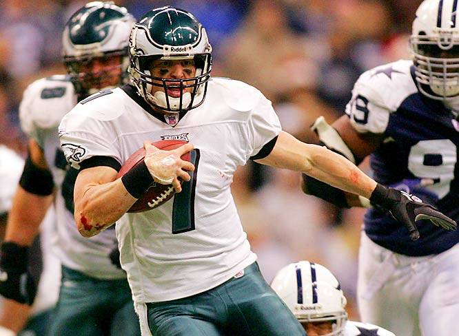 4 ... When the Eagles beat the Cowboys to clinch a playoff berth, Jeff Garcia became the first quarterback in NFL history to lead a team to the playoffs while starting at least three games for his fourth team in four years. The only other quarterback in NFL history to start three or more games for four different teams in four years was David Krieg from 1993 through 1996, but his fourth team, the Bears, went 7-9 in 1996. Garcia started 13games for the 49ers in 2003, 10 for the Browns in 2004, five for the Lions last year and five for the Eagles this year.
