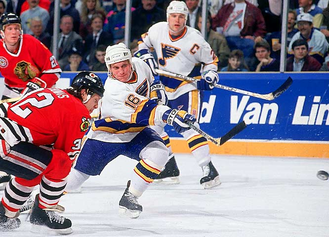 Set up by the passing of linemate Adam Oates for three seasons (1989-92), Hull achieved such illustrious milestones as 50 goals in 50 games (twice) while becoming the second player in NHL history to record three-straight 70-goal seasons. Hull's two-year total of 158 was second to Gretzky.