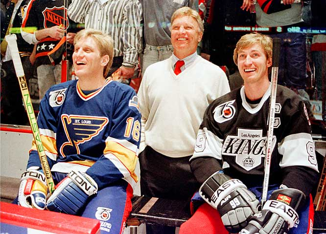 Rapidly equaling the stature and occasionally topping the feats of father Bobby (center, who never scored 50 in 50), Brett became one of the NHL's three bona fide superstars of the early `90s with Pittsburgh's Mario Lemieux and soon-to-be teammate Gretzky (right).