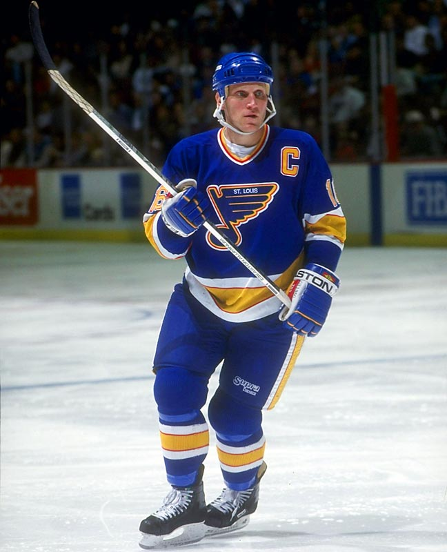 Awarded the captaincy, Hull's astronomical goal totals dipped with the departure of Oates to Boston in February 1992, but he nevertheless posted two more 50-goal seasons, giving him a streak of five.