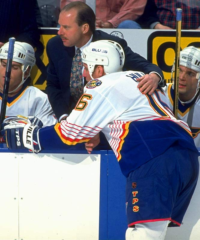 The arrival of Mike Keenan in 1994 made for stormy times in St. Louis as Hull's personality often clashed with the fiery head coach/GM. Keenan would later strip Hull of his captaincy during the 1995-96 season.