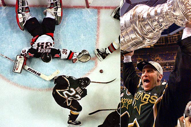 The highlight of Hull's three seasons in Dallas as no doubt his first Stanley Cup, which he won with a controversial goal in Game 6 of the 1999 final vs. Dominik Hasek and the Buffalo Sabres.