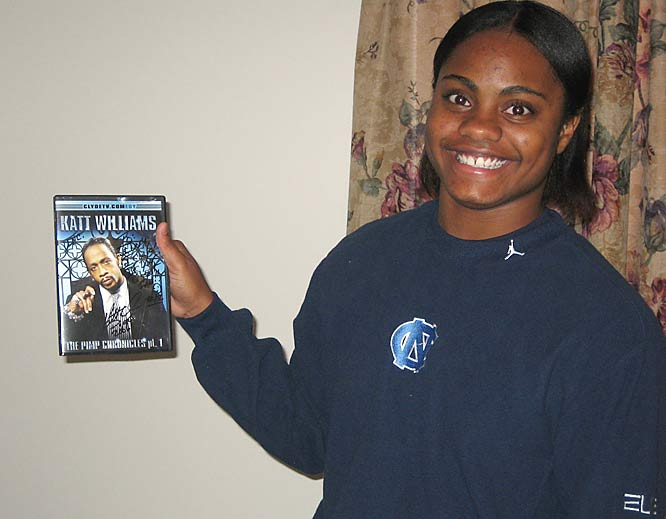 After the Tar Heels' win against Tennessee on Dec. 3, guess who was there to congratulate Latta and her team?  None other than the Kat Williams.  When Latta has time to chill -- which isn't much -- she pops in her DVD of choice.