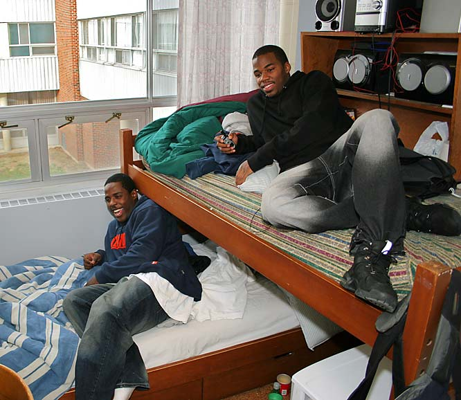 "Juice and CJ say sharing a small living space hasn't affected their friendship. ""Most people being roommates, you anticipate some kind of argument,"" Juice says. ""We've known each other since sixth grade, we've never had an argument."" There's one debate, however, that has raged since the two faced off in a junior high football game. ""We were playing them in eighth grade and at halftime the score was 13-13, then we ended up beating them 48-13,"" CJ says. ""He said we had high schoolers on our team."" ""At halftime they went and got some seniors in high school,"" Juice says. ""Those were not little boys. They were way too big."" ""We crushed them,"" CJ says. ""He's mad because we crushed them."""