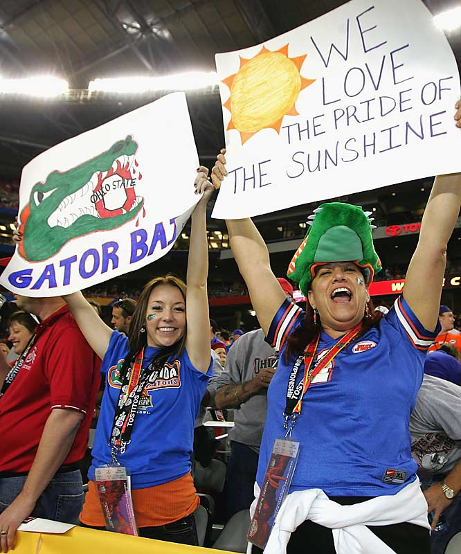 More happy Gator fans cheer during the fourth quarter of the BCS Championship victory over Ohio State.