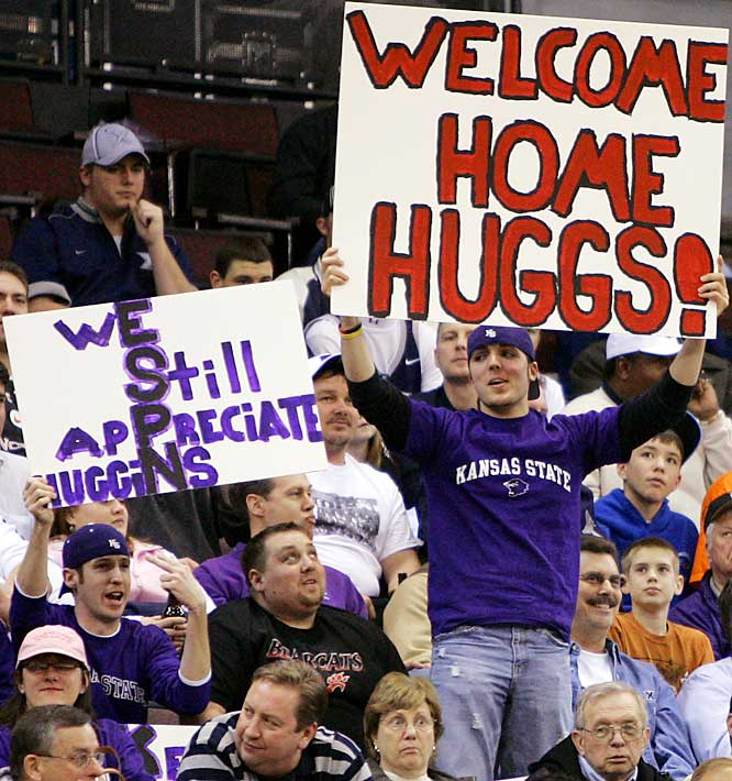 Fans show their support for Kansas State head coach Bob Huggins during the Wildcats game against Xavier on Wednesday. It was the first game back in Cincinnati for Huggins who was removed as head coach of the Bearcats over a year ago.