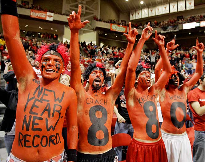 Texas Tech fans honor coach Bob Knight during the Red Raiers win over New Mexico last Monday. The victory was Knight's 880th career win, a new record.