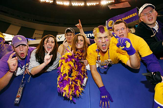 LSU fans enjoy the Tigers domination over Notre Dame in the Sugar Bowl.