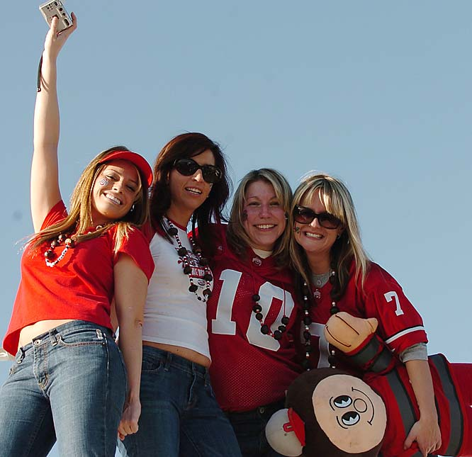 Ohio State fans dance atop an RV prior to the start of the BCS Championship Game.
