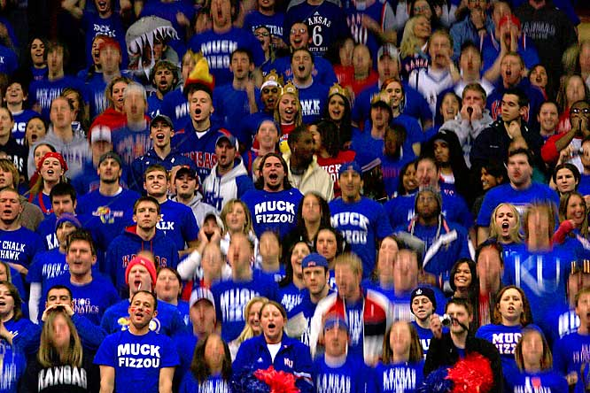 Kansas fans cheer during the first half of Monday's 80-77 victory over Missouri.