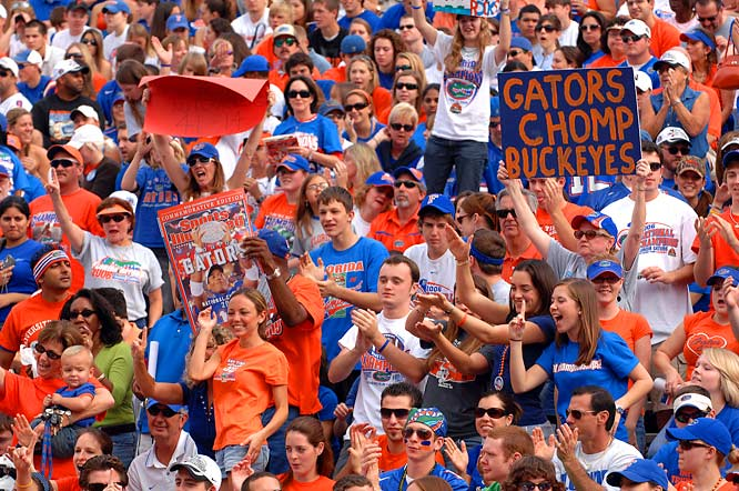 Gator fans celebrate the football team's national championship during a rally last Saturday.