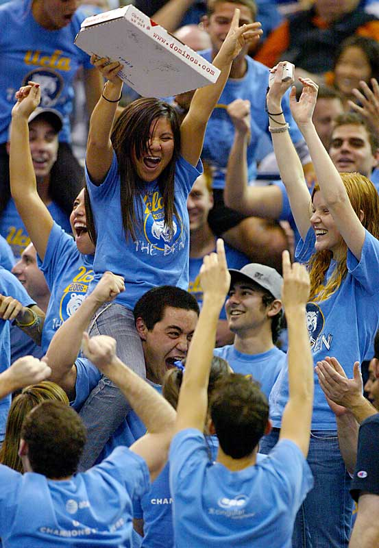UCLA fans cheer during the Bruins' Pac-10 victory over Arizona, 73-69, on Saturday.