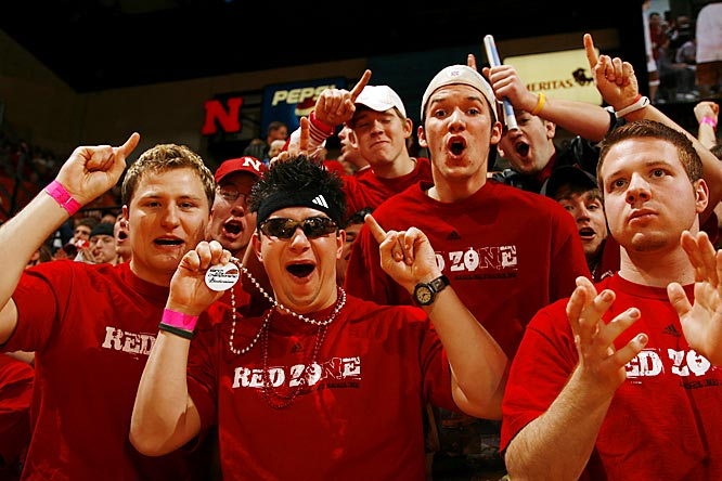 Members of Nebraska's Red Zone enjoy a game against Texas last week. Unfortunately for the Huskers, the Longhorns pulled out a close win, 62-61.