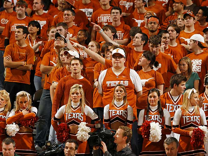 The Texas crowd watches anxiously during the second half of Saturday's game against Baylor. The fans left happy, however, as the Longhorns pulled out a 84-79 victory.
