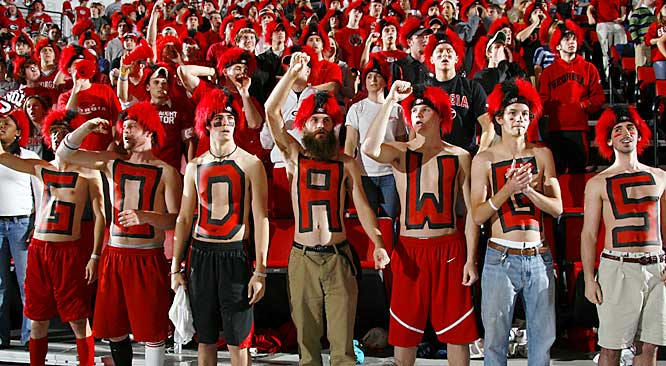 Georgia fans are painted up and ready for action during the Dawgs battle against Kentucky on Thursday.