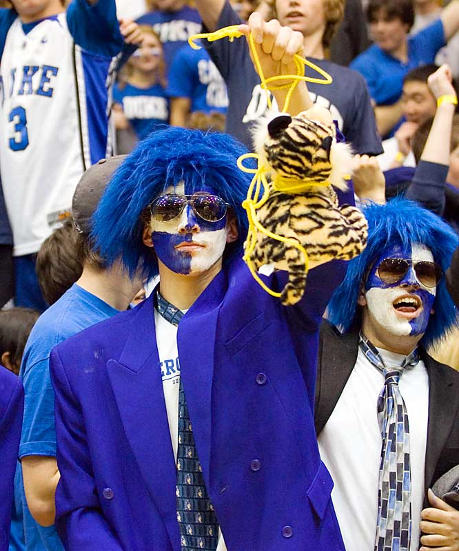 A Duke fan hangs a Tiger during the Blue Devils controversial 68-66 win over Clemson on Thursday.