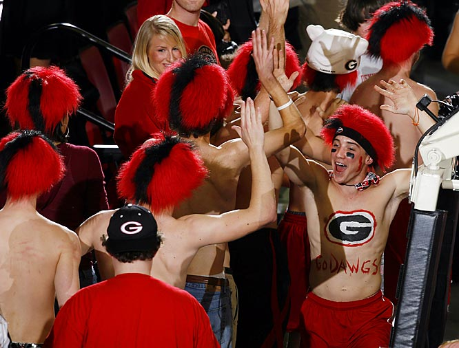 Georgia fans celebrate the Dawgs 78-69 victory over Kentucky.