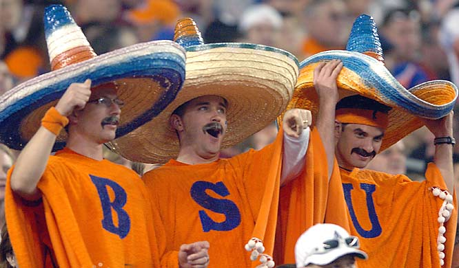 No, it's not the Three Amigos. It's just three excited Boise State fans enjoying the Broncos Fiesta Bowl matchup against Oklahoma.