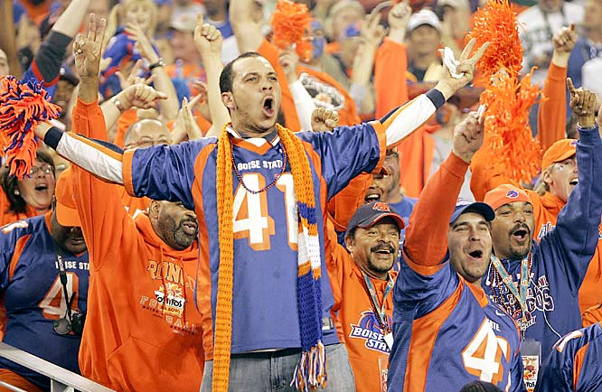 Kyle Johnson, brother of Boise State running back Ian Johnson, screams for the Broncos during the Fiesta Bowl.