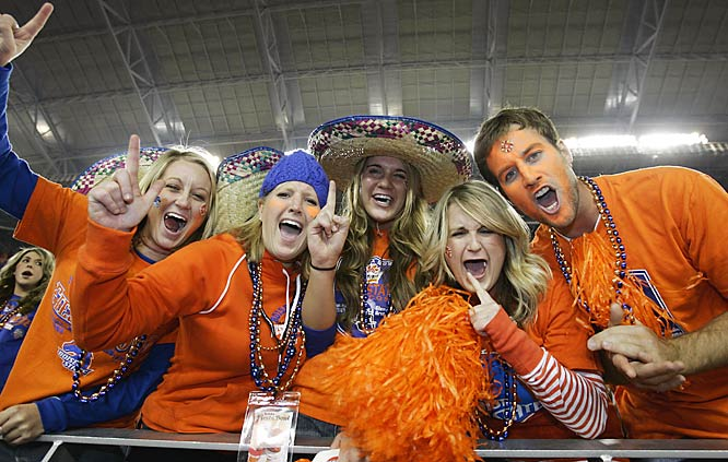 Bronco fans were ecstatic after RB Ian Johnson's successful two-point conversion gave Boise State a 43-42 Fiesta Bowl victory.