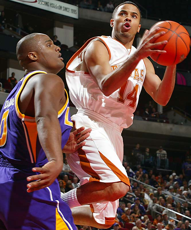 13.7 ppg, 6.6 apg, 1.6 spg<br><br> Augustin, a Hurricane Katrina refugee whose family relocated in Texas, opted to stay in the Lone Star State for college and has exploded along with fellow frosh Kevin Durant. The speedy point guard had 19 points, nine assists and seven rebounds in UT's thrilling, triple-overtime loss to Oklahoma State.