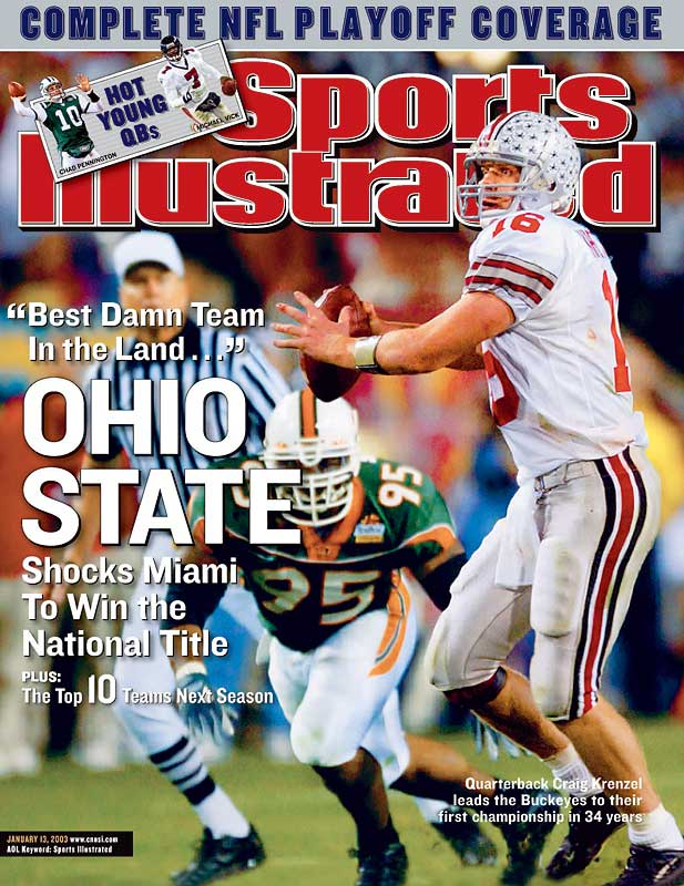 In one of the most memorable (and controversial) bowl games ever, heavy underdog Ohio State outlasted Miami in double-overtime, ending the 'Canes 34-game winning streak. In the first overtime, Craig Krenzel was unable to complete a pass to Chris Gamble on fourth-and-three, but Miami CB Glenn Sharpe was called for pass interference, giving Ohio State second life.
