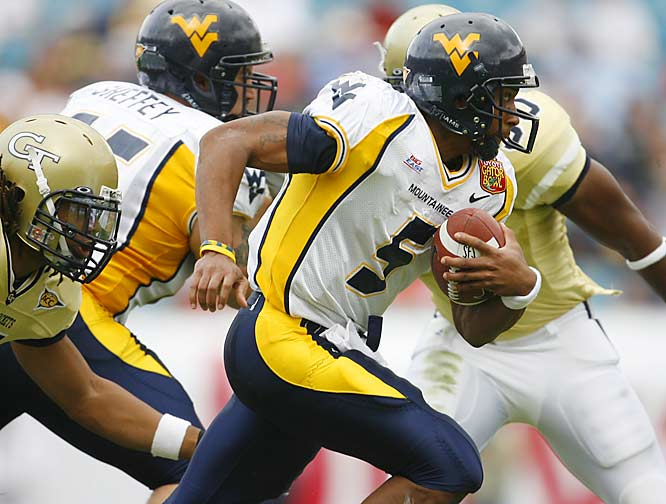 Wideout Calvin Johnson put on a clinic, catching nine balls for 186 yards and two touchdowns, but West Virginia scored the final 21 points.