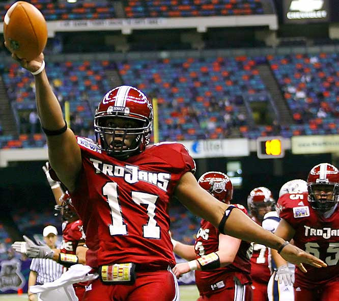 Sun Belt Player of the Year Omar Haugabook threw for 217 yards and four TDs and ran for 92 yards and an additional score.