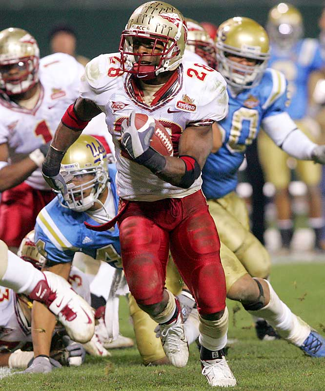 FSU senior RB Lorenzo Booker finally lived up to lofty hype, running for 91 yards and two touchdowns while catching five balls for 117 yards.