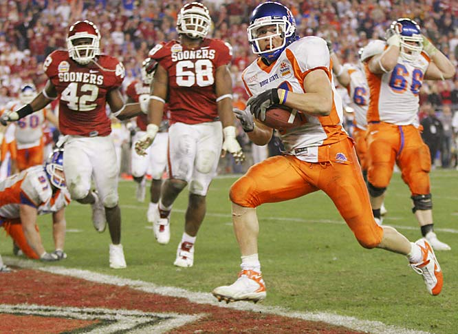 "In one of the greatest bowl games ever, first-year Boise State coach Chris Petersen unveiled a bevy of trick plays to outlast the Sooners in overtime (including a brilliant ""Statue of Liberty"" play on the winning two-point conversion).The Broncos finished as Division I-A's only undefeated team (13-0)."