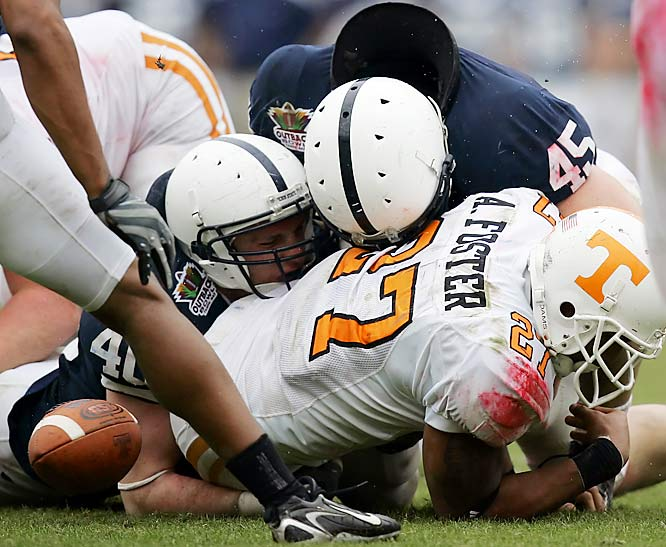 With Joe Paterno watching from the press box while recovering from a broken leg, Penn State held Tennessee to a season-low in scoring.