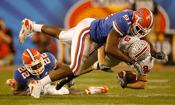 Sophomore end Derrick Harvey had his finest game as a Gator, recording three sacks and terrorizing the Buckeyes all night.