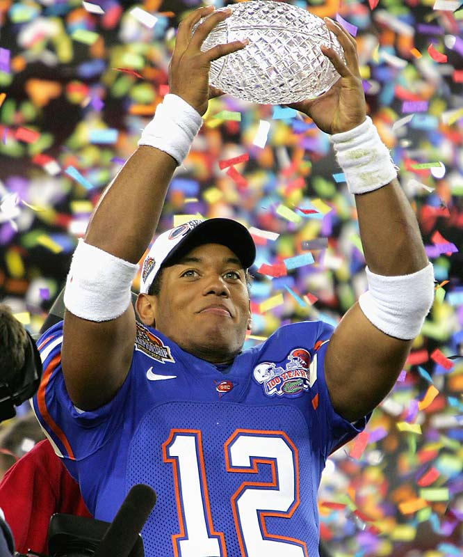 Quarterback Chris Leak holds up the BCS Championship trophy after Florida's 41-14 victory.