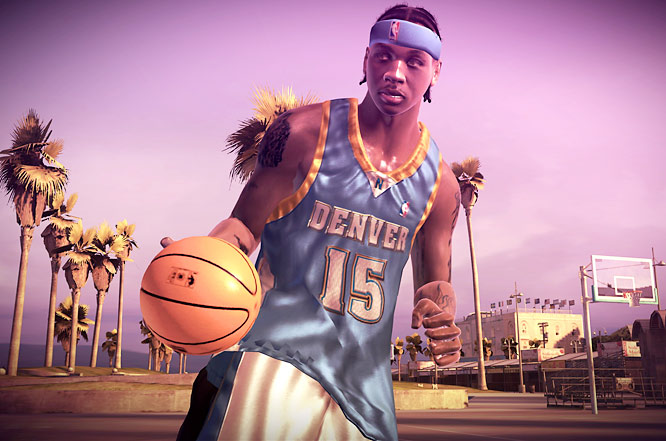 In Street you can control the rhythm of your dribble by pushing the X button (360). The pace of this is key in combination with player movement and other buttons to execute a wide array of tricks. As in past Street games you use tricks to build up towards a decisive Game Breaker where you can sap points from your opponent and clown them on the court.