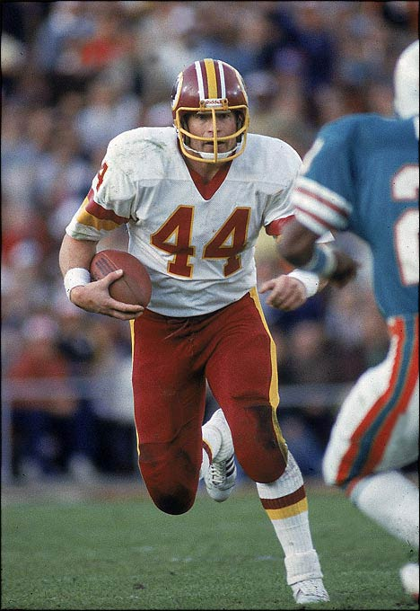 Game MVP John Riggins was a Mack truck, hauling the pigskin 38 times for a Super Bowl-record 166 yards as the Redskins came from behind to beat Miami 27-17. Trailing 17-13 with 10:01 left in the fourth quarter, Riggins took a handoff at the Miami 43, looked left, ran over cornerback Don McNeal and was gone down the sideline. The Redskins never looked back.