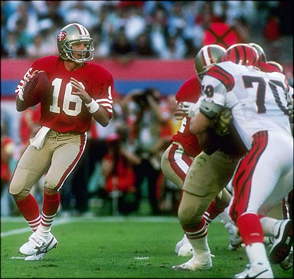 "They didn't call him Joe Cool for nothing. Trailing the Bengals 16-13 and backed up on their own eight with 3:20 left, the 49ers looked to QB Joe Montana in the huddle. ""Hey, isn't that John Candy over there?"" he asked. So began the 11-play, 92-yard drive. The capper: Montana's 10-yard scoring strike to wideout John Taylor with 34 seconds to go."