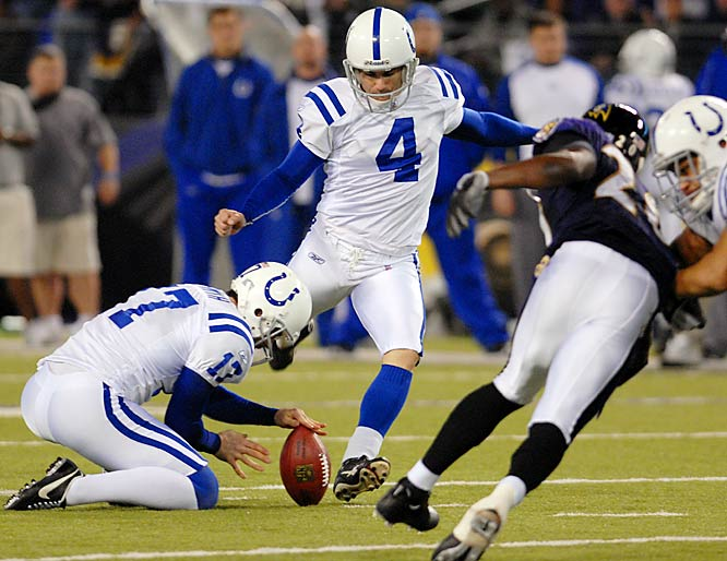 Adam Vinatieri connected on five field goal attempts -- 23, 42, 51, 48 and 35 yards -- againstBaltimore.