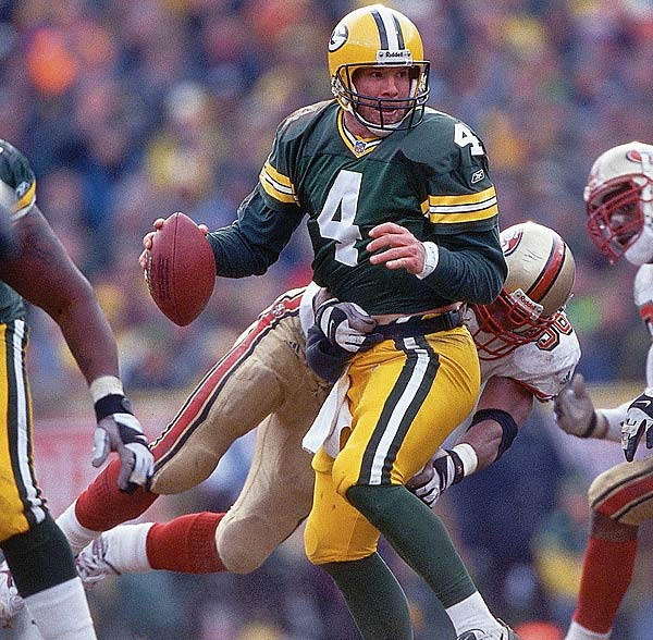 Favre completed 22 of 29 passes for 269 yards and two touchdowns for a passer rating of 112.6 in a wild-card win over San Francisco. The Packers trailed at halftime, but Favre was brilliant in the second half of the 25-15 victory.