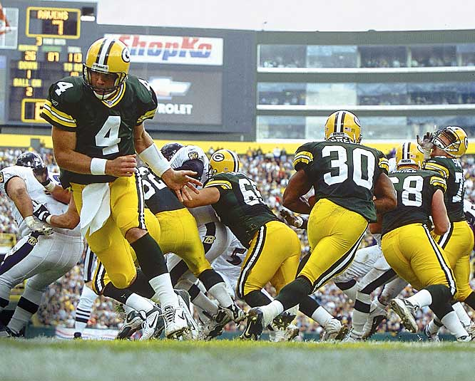 Favre took on one of the greatest defenses ever and tore it apart, completing 27 of 34 passes for 337 yards to help the Packers defeat the defending Super Bowl champion Ravens.