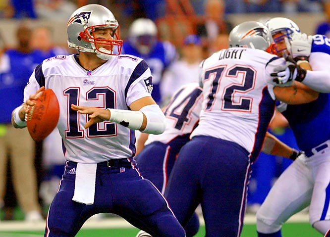 Brady was brilliant in his second game against Indy, completing 16 of 20 passes for 202 yards, three touchdowns and no interceptions in another rout.