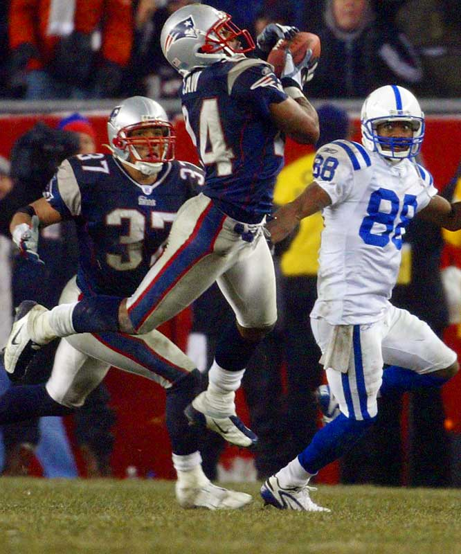 Ty Law had three of New England's four interceptions of Manning and Brady was coolly efficient in helping the Pats advance to Super Bowl XXXVIII.