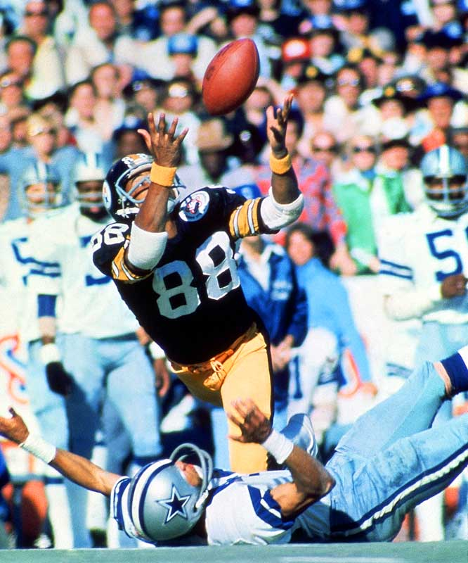 Any discussion of this Super Bowl begins and ends with Pittsburgh's balletic wideout Lynn Swann, who made four catches (including two of the best grabs in Super Bowl history) for 161 yards and one TD.