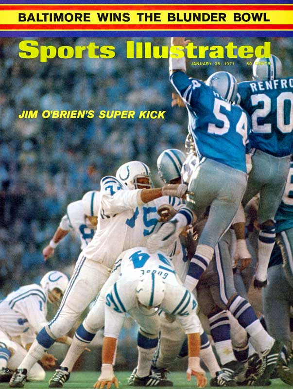 It was Bizzarro World, NFL style! Dallas and Baltimore combined for 11 turnovers, played the first-ever championship game on artificial turf and featured an MVP (Cowboys LB Chuck Howley) from the losing team! Colts kicker Jim O'Brien cemented his Super Bowl legacy by nailing a last-second 32-yard field goal.